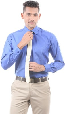 Aries Men's Solid Formal Blue Shirt