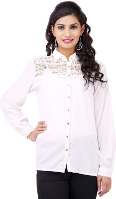Pear Blossom Women's Solid Casual White Shirt