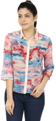 M&F Women's Printed Casual Multicolor Shirt