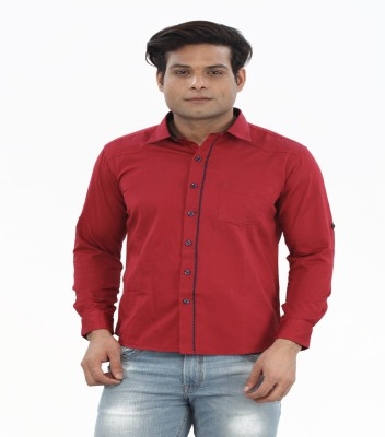Moustache Men's Solid Casual Red Shirt