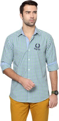 University of Oxford Men's Checkered Casual Green Shirt
