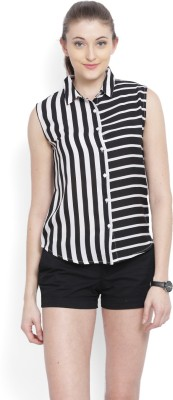 United Colors of Benetton Womens Striped Casual Black Shirt