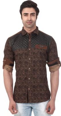 Vintage Soul Men's Printed Casual Brown Shirt