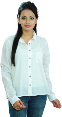 Goodwill Impex Women's Solid Casual White Shirt
