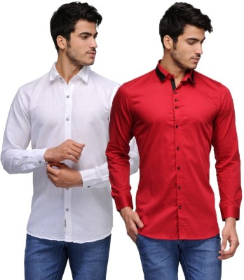 Feed Up Men's Solid Casual White, Red Shirt
