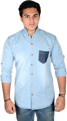 Yomaa Men's Solid Party Denim Blue Shirt