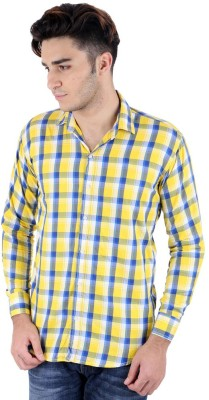 Christy's Collection Men's Checkered Casual Yellow Shirt