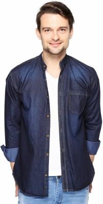 Fasnoya Brukers Men's Solid Casual Denim Blue, Dark Blue Shirt