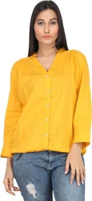 WanderW Women,s Solid Casual Yellow Shirt