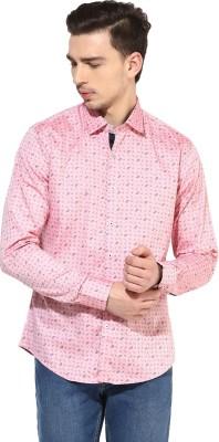 Invern Men's Printed Casual Pink Shirt