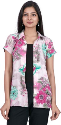 Pamposh Creations Women's Floral Print Casual White Shirt