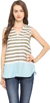 Free & Young Women's Striped Casual Multicolor Shirt