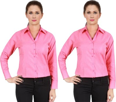 NGT Women's Solid Formal Red Shirt