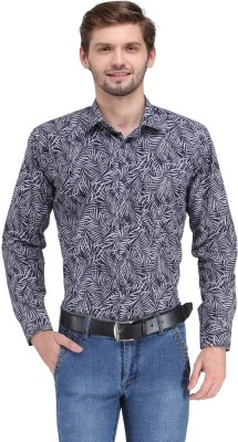 Ausy Men's Printed Casual Blue, White Shirt