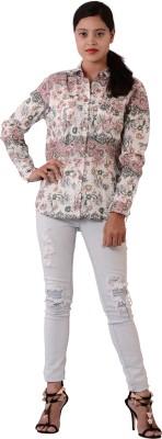Fashnopolism Women's Printed Casual White Shirt