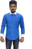 BK Black Men's Printed Casual Blue Shirt