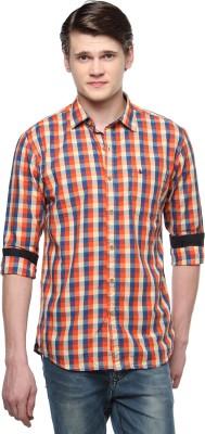 British Club Men,s Checkered Casual Orange Shirt