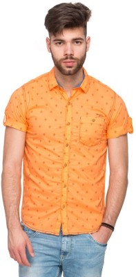 Shiksha Men's Printed Casual Orange Shirt