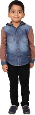 I-Voc Boy's Solid Casual Blue, Brown Shirt