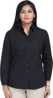 Estella Fashion Women's Solid Formal Black Shirt