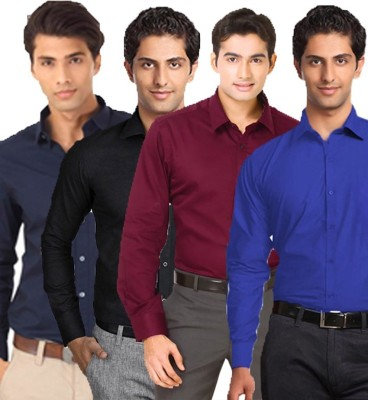 VKG Men's Solid Formal Multicolor Shirt(Pack of 4)