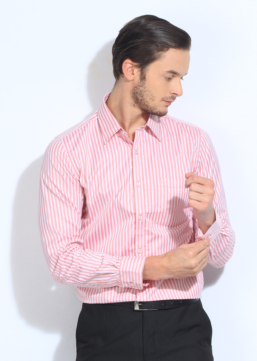 London Bridge Men's Striped Formal White, Pink Shirt