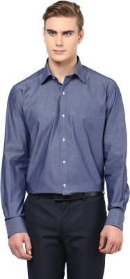 American Crew Men's Solid Formal Blue Shirt