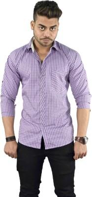 Your Desire Shirts Men's Checkered Casual Purple Shirt