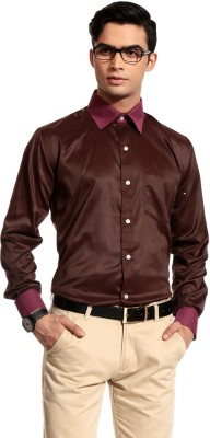 Cotton Crus Men's Solid Formal Brown Shirt