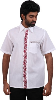 Karlsburg Men's Embroidered Casual White, Red Shirt
