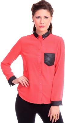 Street 9 Women's Solid Casual Orange Shirt
