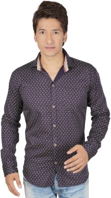 RED TOUCH Men's Printed Casual Purple Shirt