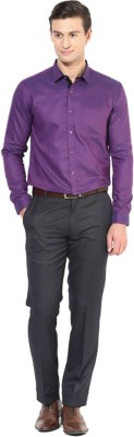 Rv Collection Men's Solid Formal Purple Shirt
