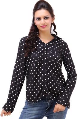 Kashana Fashions Women's Polka Print Casual Black, White Shirt
