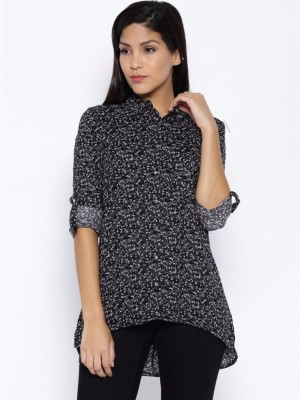 Silly People Women's Solid Casual Black Shirt