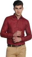 Van Galis Formal Shirts (Men's) - Van Galis Men's Solid Formal Red Shirt