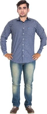 7 Buttons Men,s, Boy's Checkered Casual, Formal Blue Shirt