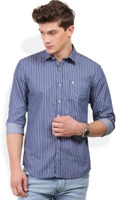 PAN VALLEY Men's Striped Casual Blue Shirt