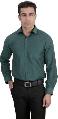 John Players Men's Solid Formal Green Shirt