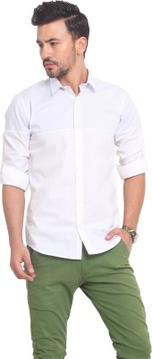 Exitplay Men's Solid Casual White, Blue Shirt