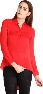 SOIE Women's Solid Casual Red Shirt