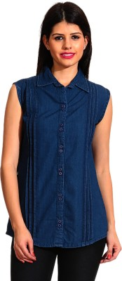 Ahhaaaa Women's Solid Casual Denim Blue Shirt