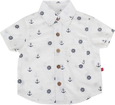 Nino Bambino Boy's Printed Casual White Shirt