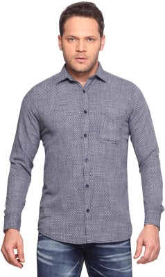 Klub Fox Men's Printed Casual Dark Blue Shirt