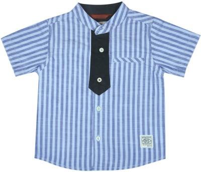 Wow Mom Baby Boy's Striped Casual Blue Shirt