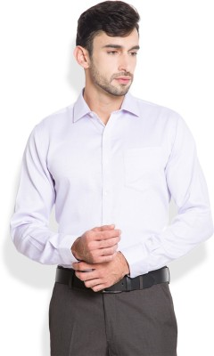 Black Coffee Men's Solid Formal White, Purple Shirt