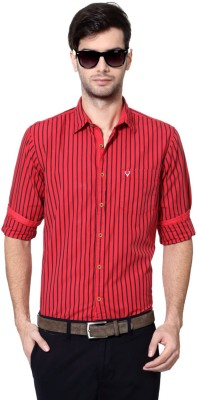 Allen Solly Men's Striped Casual Red Shirt