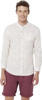 Chumbak Men's Printed Casual Linen White Shirt