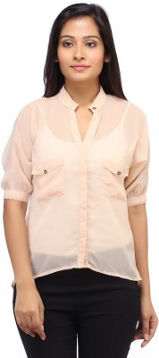 Entease Women's Solid Casual Beige Shirt