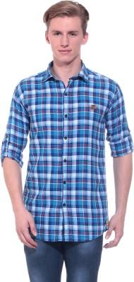 Tabser Men's Checkered Casual Blue Shirt
